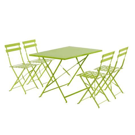 table de jardin et chaises salon de jardin en métal 1 table pliante et 4 chaises