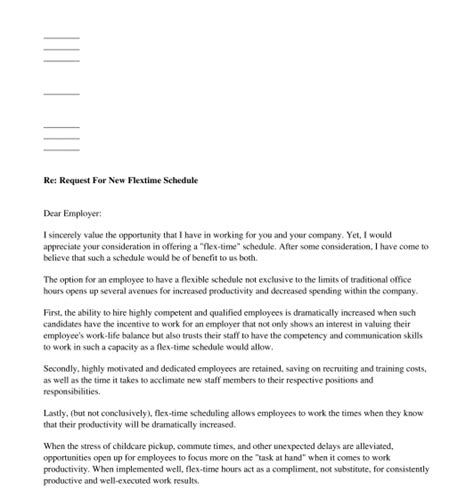 letter  request flexible working sample template