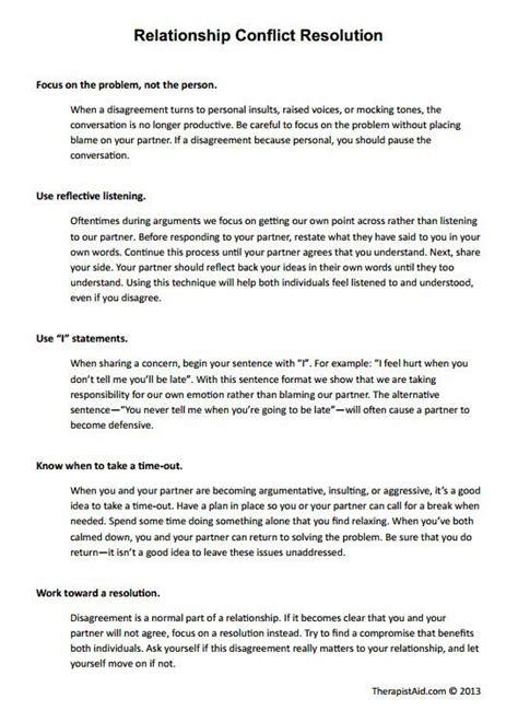 relationship conflict resolution worksheet relationship