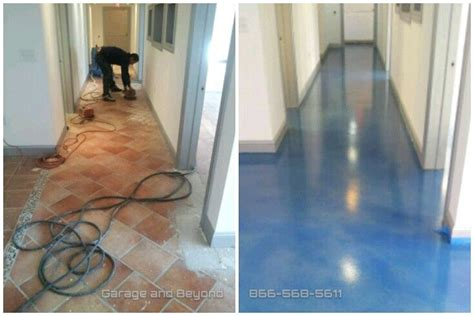 self level concrete tile stained wave affects then
