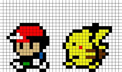 ash  pikachu pokemon pixel art brik