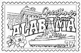 Coloring Alabama Pages State Congress Sheets States Printables Flower Symbols United Mississippi Getcolorings Usa Crafts Florida Stamp Getdrawings Tide Crimson sketch template