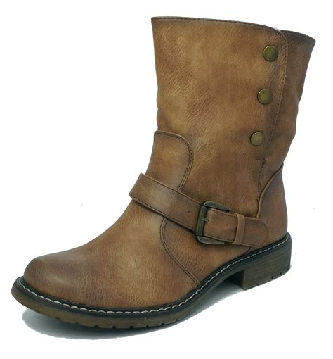 womens brown leather biker boots womens fold down leather look fur lined biker ankle boots