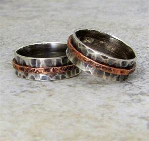 silver wedding band set rustic wedding rings silver copper With country wedding ring