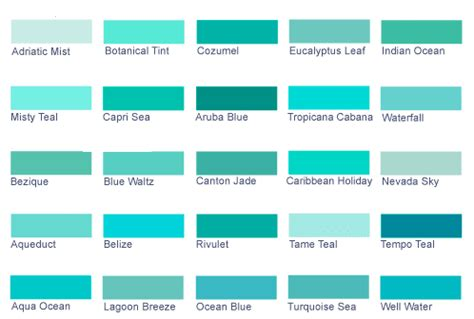 blue green color names sh yn design list of colors