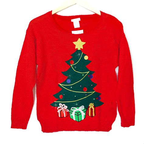 led light up christmas tree tacky ugly holiday sweater