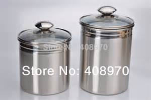 Stainless Steel Canister Sets Kitchen 304 Stainless Steel 2 Kitchen Canister Set Countertop Storage Sealed Cans With Lid