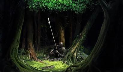 Forest Fantasy Knight Artwork Spear Armor Trees