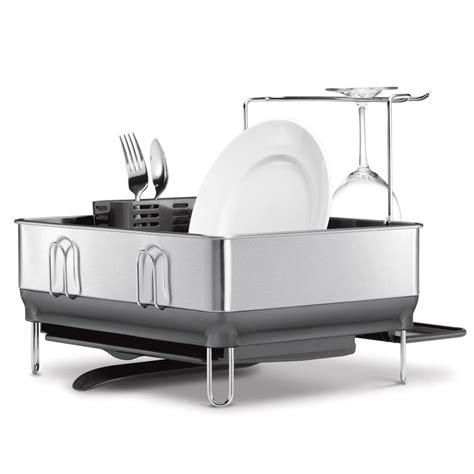 simplehuman compact steel frame dish rack  fingerprint proof brushed stainless steel kt
