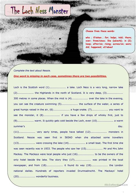 loch ness monster worksheet  esl printable