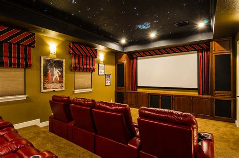 theater room with home automation traditional