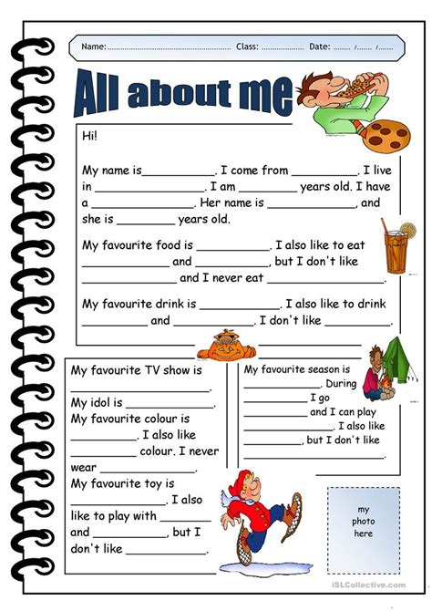 All About Me Worksheet  Free Esl Printable Worksheets Made By Teachers