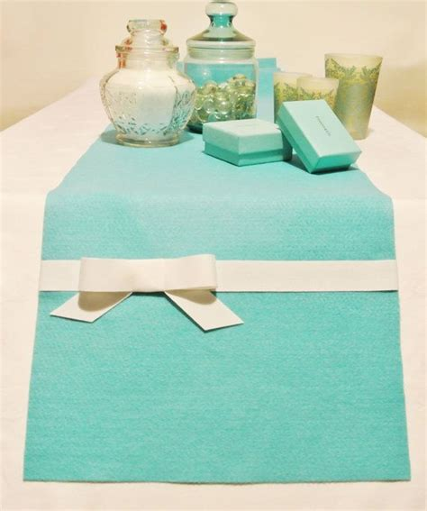 tiffany blue table runner tiffany style blue with white ribbon table runner