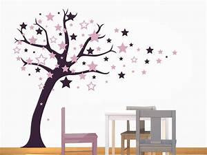Wandtattoo Baum Kinder : wandtattoo baum mit fliegenden sternen ~ Whattoseeinmadrid.com Haus und Dekorationen