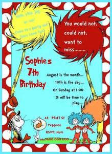 Dr. Seuss Birthday Party Invitation Templates