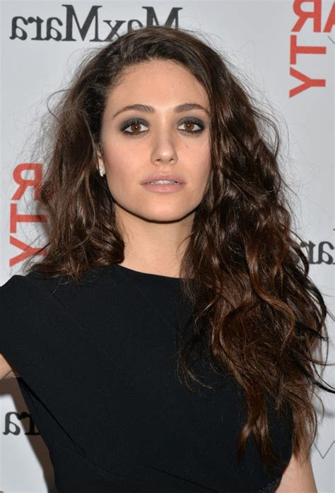 emmy rossum messy long hairstyle  tousled curls