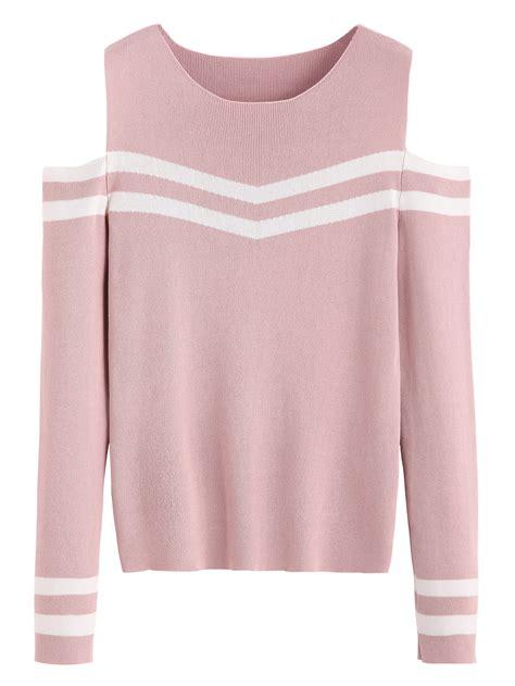 pink the shoulder sweater pink striped open shoulder sweater