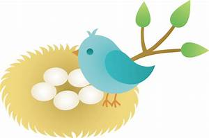 Blue Bird With Nest of Eggs - Free Clip Art