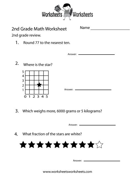 printable math worksheets for 2nd grade printable