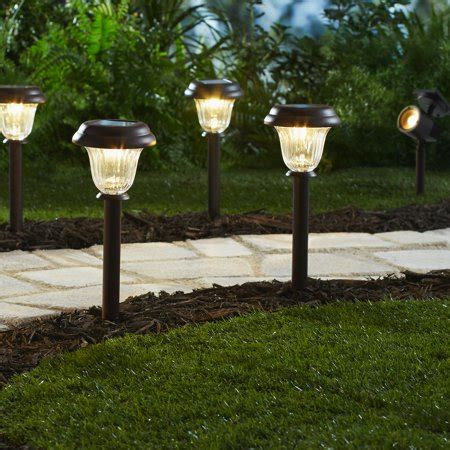 Led Pathway Lights by Mainstays 8 Solar Powered Led Pathway Lighting Set