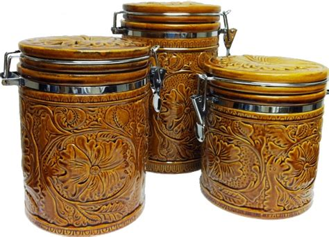 Western Kitchen Canister Set Ceramic Tooled Design 3pc