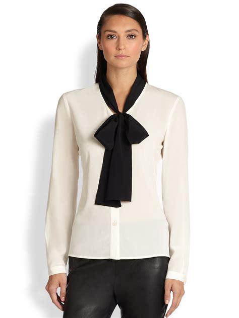 tie blouse st silk contrast tie blouse in black bright white
