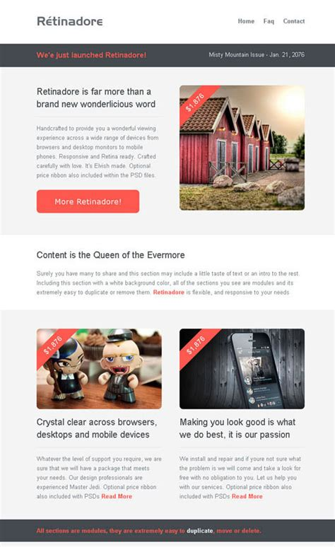 best mailchimp templates 20 best flat style responsive email templates designbeep