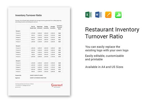 restaurant inventory turnover ratio template  word