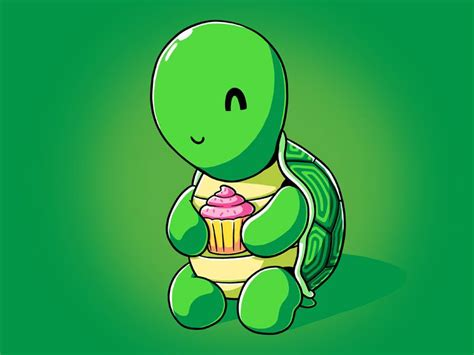 turtle holding  cupcake  didnt stand  chance