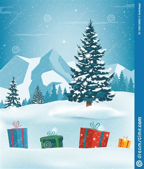 May god bless you with joy at christmas and fill your heart with love. Christmas Tree With Decorations And Gift Boxes. Holiday ...