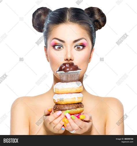 beauty fashion model girl  stack  colorful donuts