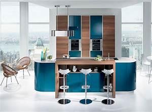 Bar Cuisine Ouverte : am nager une cuisine ouverte bleu canard avec bar ~ Melissatoandfro.com Idées de Décoration