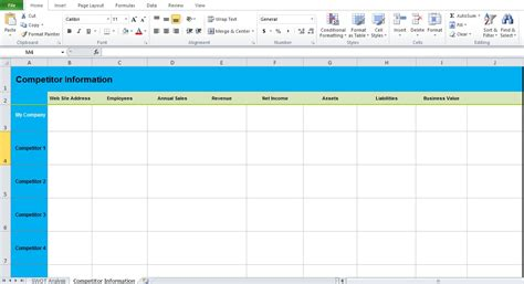 swot analysis template excel excel tmp