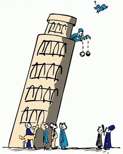 Pisa Cartoon Galileo Tower Leaning Physics Science