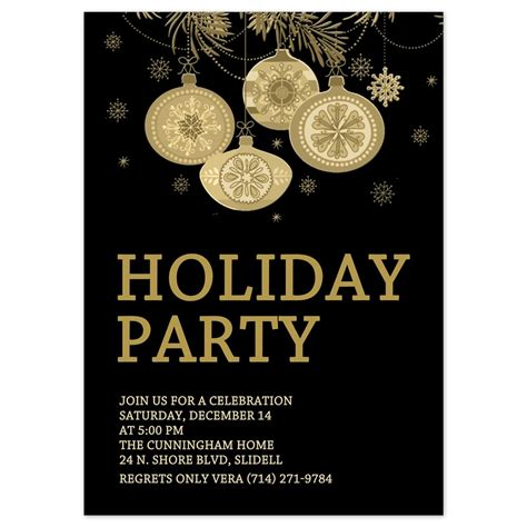 Christmas Party Invitations Gold Ornaments Design