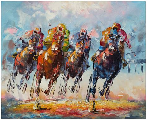 Hand Painted Horse Racing Oil Painting On Canvas 24x20