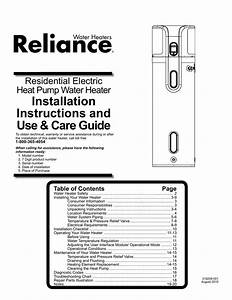 Reliance Water Heaters 606 Use  U0026 Care Guide