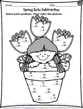 free spring subtraction worksheet just print and go