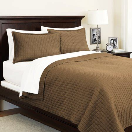Sateen Coverlet by Canopy Squares 250 Thread Count Sateen Brown Clay Coverlet