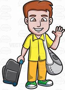 Cartoon Clipart: A Man Waving Goodbye Before He Leaves