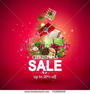 Christmas Sale Poster Red Green Gift Stock Vector