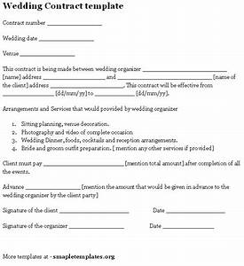 Wedding contract template contracts questionnaires for Wedding vendor contract template