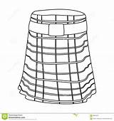 Kilt Scotland Outline Country Illustration Vector Isolated Symbol Icon Background Skirt sketch template