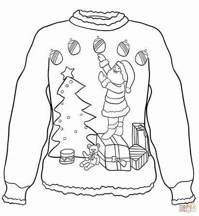 Sweater Coloring Christmas Ugly Pages Colouring Santa