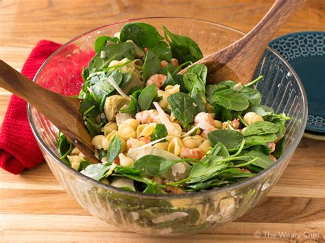 Hot shrimp dip recipe (shrimp cocktail dip). Shrimp Pasta Salad with Spinach and Artichokes - The Weary Chef