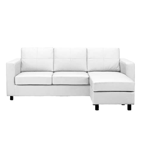 Small White Loveseat by Modern White Bonded Leather Small Sectional Sofa Small