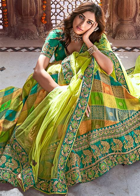 multicolor silk jacquard traditional lehenga choli