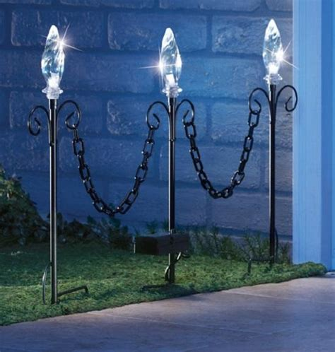 3 pc solar lighted garden stakes with decorative