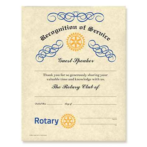Rotary Club Certificate Template by Rotary Guest Speaker Certificate Rotary Club Supplies