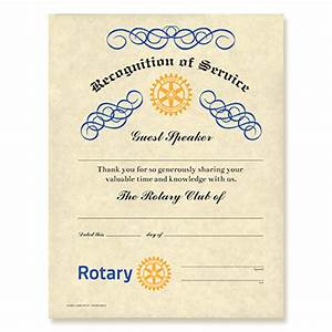 rotary guest speaker certificate rotary club supplies With rotary club certificate template